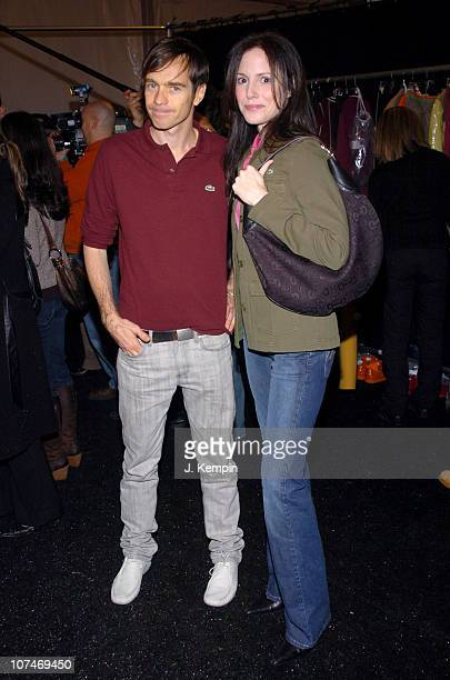 Christophe Lemaire and MaryLouise Parker during Olympus Fashion Week Fall 2006 LaCoste Front Row and Backstage at Bryant Park in New York New York...