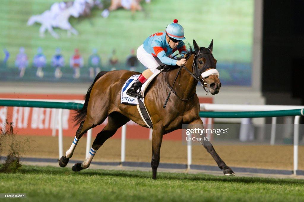 Almond Eye wins the Dubai Turf at Meydan Racecourse, UAE : ニュース写真