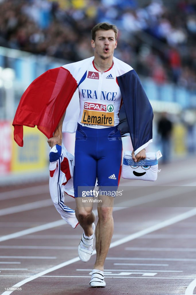 Christophe Lemaitre of France celebrates winning the Men's 100 Metres Final during day two of the 21st European Athletics Championships at the Olympic Stadium on June 28, 2012 in Helsinki, Finland