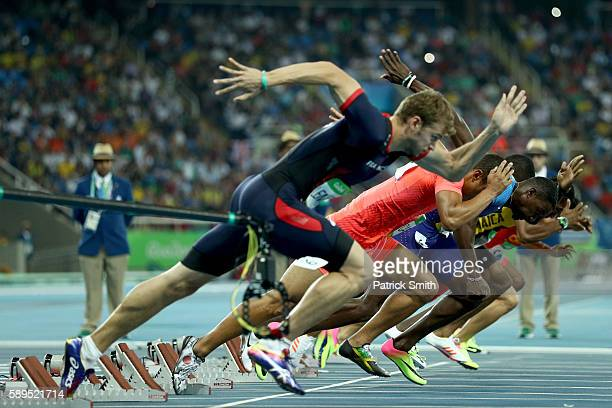 Christophe Lemaitre of France, Ryota Yamagata of Japan, Chijindu Ujah of Great Britain, Usain Bolt of Jamaica and Andre De Grasse of Canada compete...