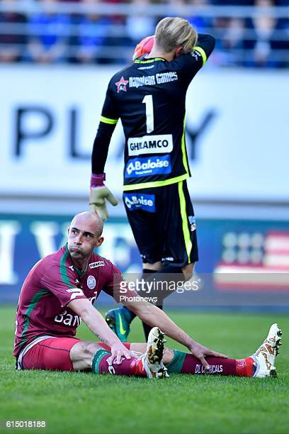 Christophe Lepoint midfielder of SV Zulte Waregem looks dejected after missing an opportunity during the Jupiler Pro League match between KAA Gent...