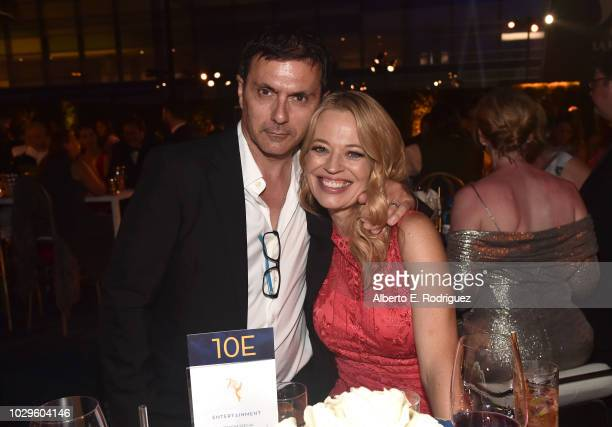 Christophe ƒmŽ and Jeri Ryan attend the 2018 Creative Arts Emmys Ball on September 8, 2018 in Los Angeles, California.
