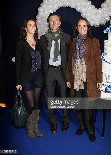 PARIS OCTOBER 28 Christophe Malavoy his wife Isabelle and his daughter Camille poses for the premiere of 'Mamma Mia' Paris Premiere at Theatre...