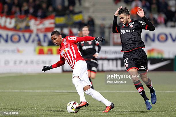 Christophe Mandanne of Nancy and Mehdi Abeid of Dijon during the Ligue 1 match between As Nancy Lorraine and Dijon FCO at Stade Marcel Picot on...