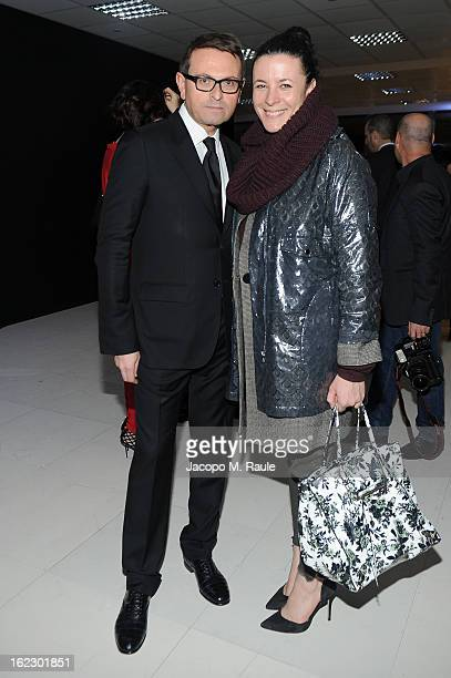 Christophe Melard and Garance Dore attend the Sergio Rossi presentation cocktail during Milan Fashion Week Womenswear Fall/Winter 2013/14 on February...