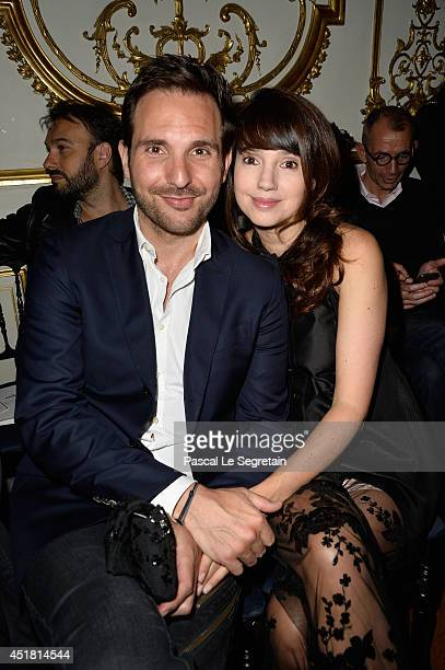 Christophe Michalak and Delphine McCarty attends the Alexis Mabille show as part of Paris Fashion Week Haute Couture Fall/Winter 20142015at on July 7...