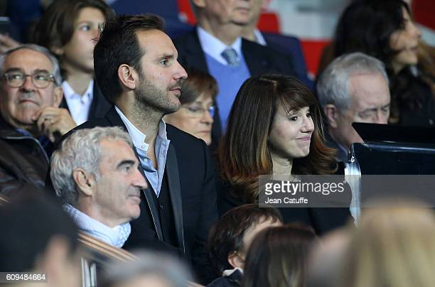 Christophe Michalak and his wife Delphine McCarty attend the French Ligue 1 football match between Paris SaintGermain and Dijon FCO at Parc des...