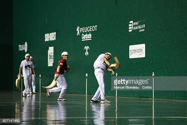 Christophe Olha competes during the Cesta Punta World Championship semifinals match at the Jai Alai of Biarritz Basque Country southwestern France on...