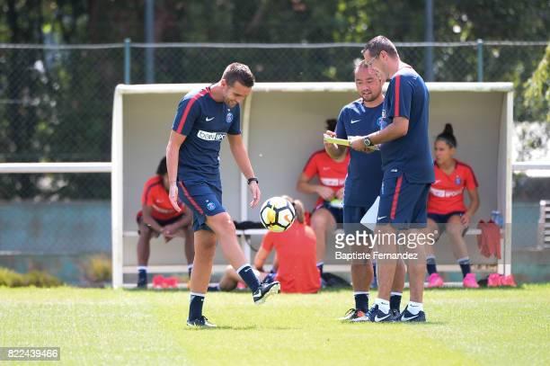 Christophe Ott Toru Ota and Guillaume Capoen of Paris Saint Germain during a training session of Paris Saint Germain at Bougival on July 25 2017 in...