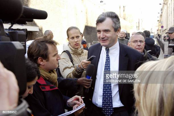 """Christophe Reille the spokesman of French rogue trader Jerome Kerviel, speaks to journalists in front of """"La Sante"""" prison, on March 18 2008 in..."""