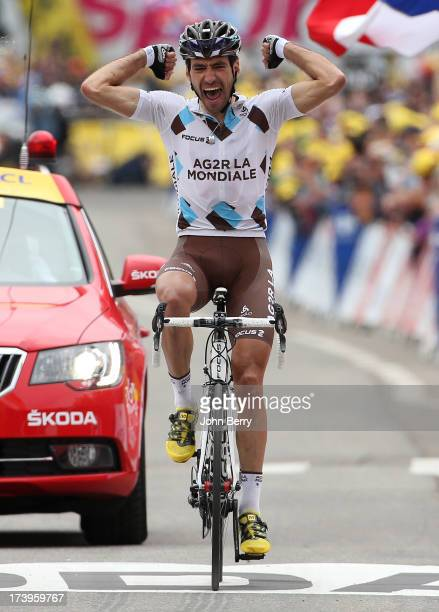 Christophe Riblon of France and Team AG2R La Mondiale wins stage eighteen of the 2013 Tour de France a 1725KM road stage from Gap to l'Alpe d'Huez on...