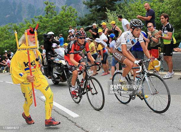 Christophe Riblon of France riding for AG2R La Mondiale leads Tejay van Garderen of the United States riding for BMC Racing as they are chased by El...