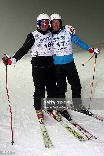 Christophe Saioni and Bruno Kernen attend the 5th World Stars Ski Event in Sestriere on March 20 2010 in Turin Italy
