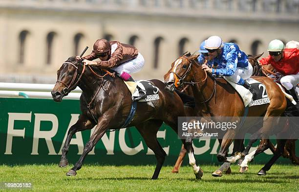 Christophe Soumillon riding Peace Burg win The Prix de Sandringham at Chantilly racecourse on June 02 2013 in Chantilly France