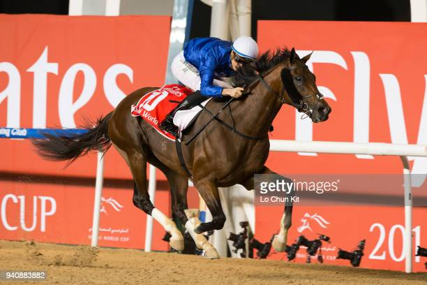 Christophe Soumillon riding Thunder Snow wins the Dubai World Cup at Meydan Racecourse on March 31 2018 in Dubai United Arab Emirates