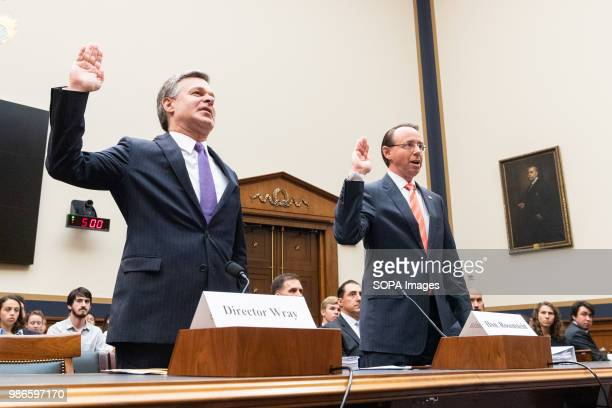 Christopher A Wray Director of the Federal Bureau of Investigation and Rod Rosenstein United States Deputy Attorney General at the House Judiciary...