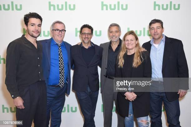 Christopher Abbott Luke Davies Grant Heslov George Clooney Ellen Kuras and Kyle Chandler attend the Hulu Panel during the Winter TCA 2019 on February...
