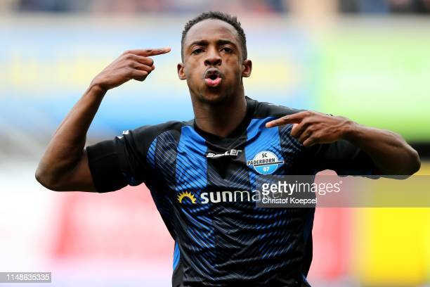 Christopher AbntwiAdjei of Paderborn celebrates the third goal during the Second Bundesliga match between SC Paderborn 07 and Hamburger SV at...