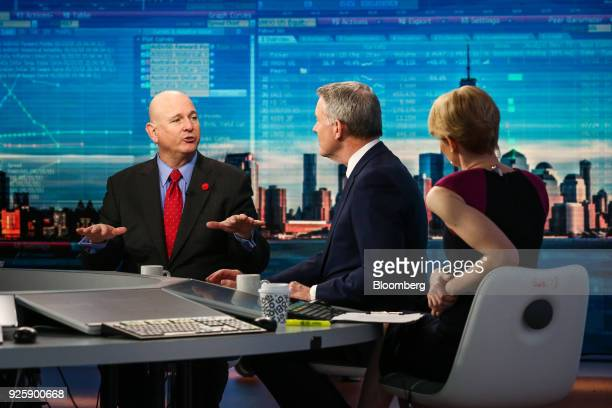 Christopher Ailman chief investment officer of the California State Teachers Retirement System left speaks during a Bloomberg Television interview in...