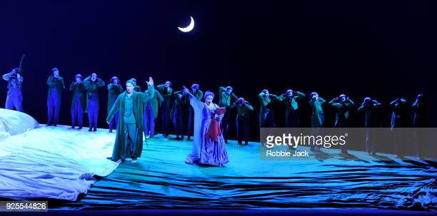 Christopher Ainslie as Oberon and Soraya Mafi as Tytania with artists of the copany in English National Opera's Production Of Benjamin Britten's A...