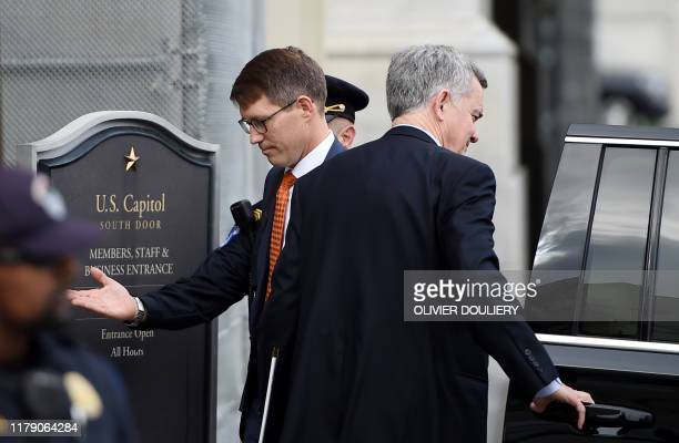 Christopher Anderson a State Department employee arrives for a closeddoor deposition at the US Capitol in Washington DC on October 30 2019 US...