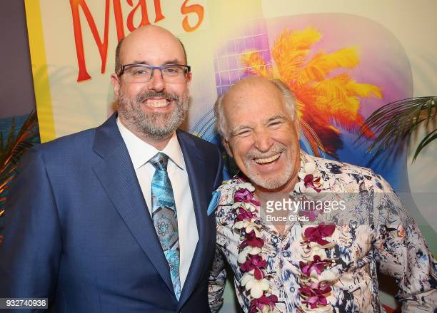 Christopher Ashley and Jimmy Buffett pose at the Opening Night of The Jimmy Buffett Musical 'Escape To Margaritaville' on Broadway at The Marquis...