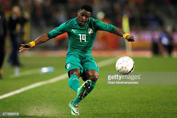 Christopher Aurier of Ivory Coast in action during the International Friendly match between Belgium and Ivory Coast at The King Baudouin Stadium on...