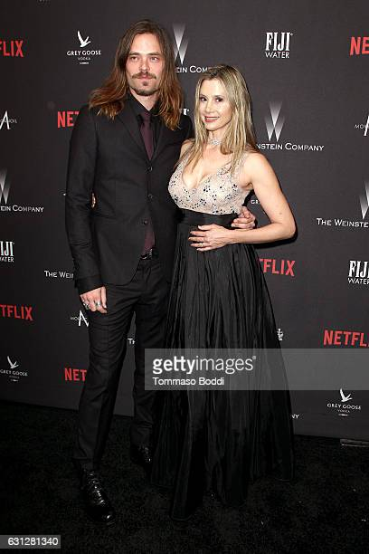 Christopher Backus and actress Mira Sorvino attend The Weinstein Company and Netflix Golden Globe Party presented with FIJI Water Grey Goose Vodka...