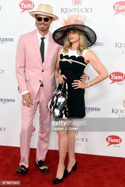 Christopher Backus and Mira Sorvino attend the 143rd Kentucky Derby at Churchill Downs on May 6 2017 in Louisville Kentucky