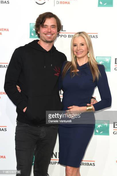 Christopher Backus and Mira Sorvino attend the photocall of the movie Drowning during the 14th Rome Film Festival on October 20 2019 in Rome Italy