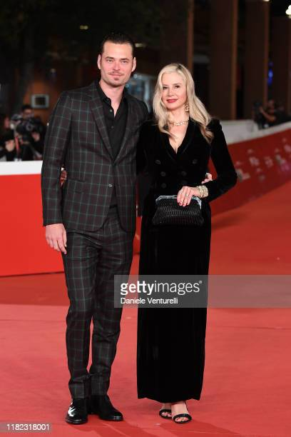 """Christopher Backus and Mira Sorvino attends the """"Drowning"""" red carpet during the 14th Rome Film Festival on October 20, 2019 in Rome, Italy."""