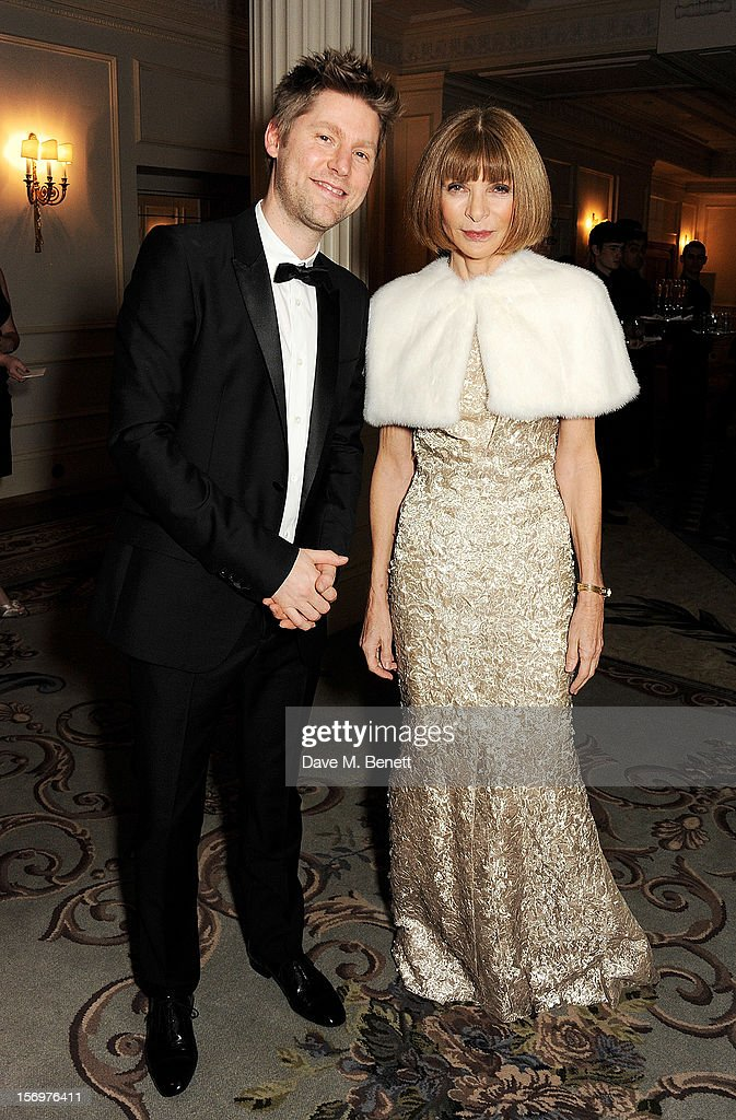 Christopher Bailey (L) and Anna Wintour attend a drinks reception at the 58th London Evening Standard Theatre Awards in association with Burberry at The Savoy Hotel on November 25, 2012 in London, England.