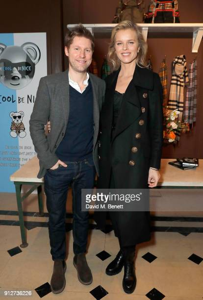 Christopher Bailey and Eva Herzigova attend an event to celebrate 'Be Cool Be Nice' on January 31 2018 in London England