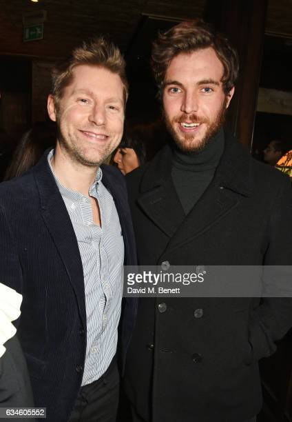 Christopher Bailey and Tom Hughes attend a dinner cohosted by Harvey Weinstein Burberry Evgeny Lebedev ahead of the 2017 BAFTA film awards in...