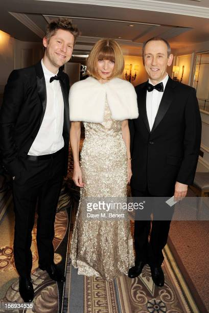 Christopher Bailey Anna Wintour and Nicholas Hytner attend a drinks reception at the 58th London Evening Standard Theatre Awards in association with...