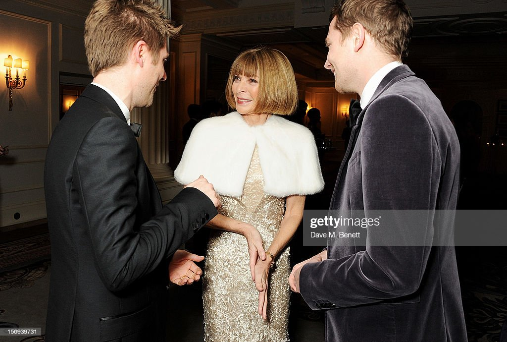 Christopher Bailey, Anna Wintour and Simon Woods attend a drinks reception at the 58th London Evening Standard Theatre Awards in association with Burberry at The Savoy Hotel on November 25, 2012 in London, England.