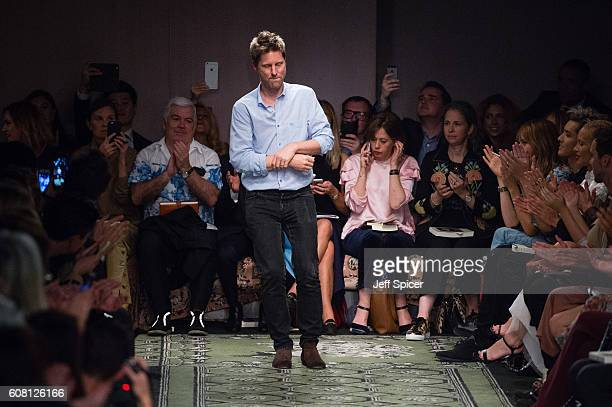 Christopher Bailey at the Burberry runway show during London Fashion Week Spring/Summer collections 2017 on September 19, 2016 in London, United...