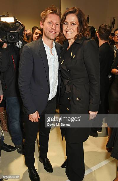 Christopher Bailey Burberry Chief Creative and Chief Executive Officer and Alison Moyet pose backstage at the Burberry Womenswear Spring/Summer 2016...