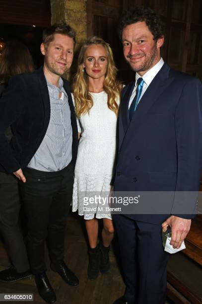 Christopher Bailey Cressida Bonas and Dominic West attend a dinner cohosted by Harvey Weinstein Burberry Evgeny Lebedev ahead of the 2017 BAFTA film...