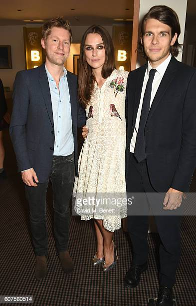 Christopher Bailey Keira Knightley and James Righton attend the Green Carpet Challenge 2016 BAFTA Night to Remember on September 18 2016 in London...