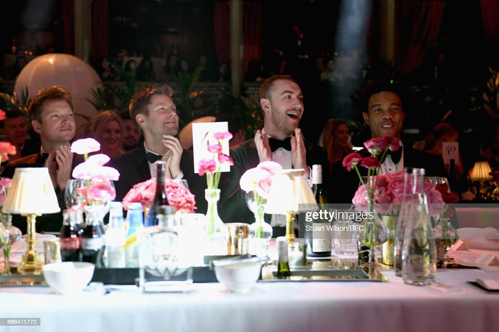 Christopher Bailey MBE, Sam Smith and Charlie Casely-Hayford during The Fashion Awards 2017 in partnership with Swarovski at Royal Albert Hall on December 4, 2017 in London, England.