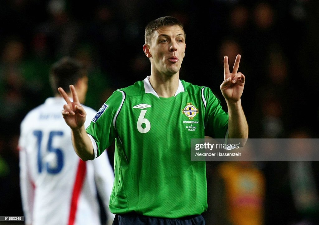 Christopher Baird of Northern Ireland reacts during the FIFA 2010 World Cup Group 3 Qualifier match between Czech Republic and Northern Ireland at the Synot Tip Arena on October 14, 2009 in Prague, Czech Republic.