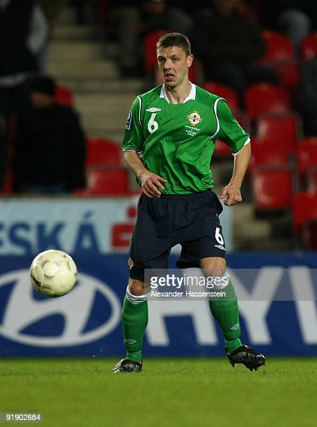 Christopher Baird of Northern Ireland runs with the ball during the FIFA 2010 World Cup Group 3 Qualifier match between Czech Republic and Northern...