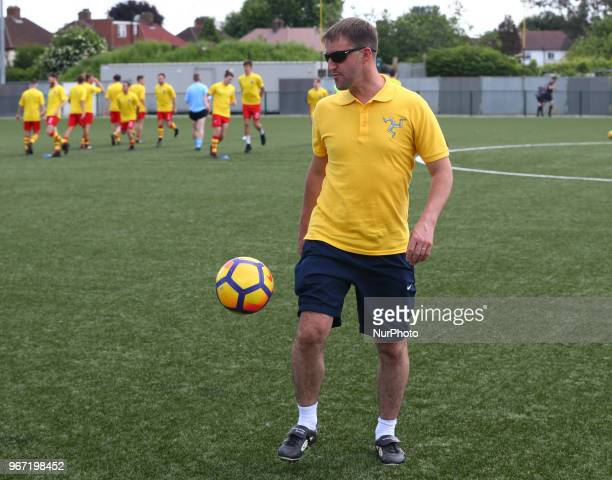 Christopher Bass Head Coach of Ellan Vannin during Conifa Paddy Power World Football Cup 2018 Group A match between Barawa against Ellan Vannin at...