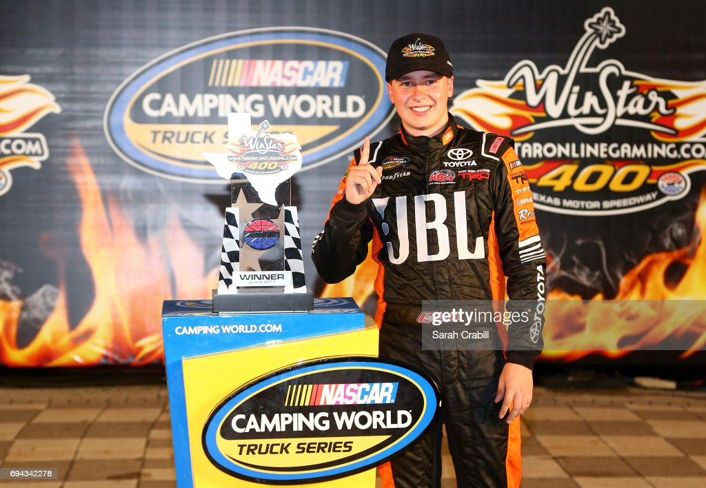 Christopher Bell, driver of the #4 JBL Toyota, celebrates in Victory Lane after winning the NASCAR Camping World Truck Series winstaronlinegaming.com 400 at Texas Motor Speedway on June 9, 2017 in Fort Worth, Texas.