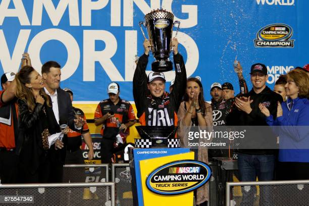 Christopher Bell driver of the JBL Toyota celebrates winning the Camping World Truck Series Championship at the Ford EcoBoost 200 at HomesteadMiami...