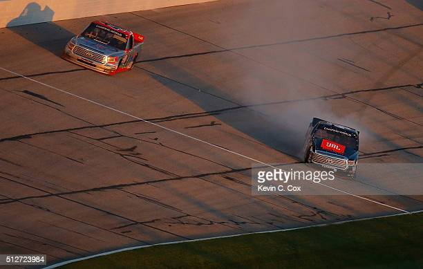 Christopher Bell driver of the JBL Toyota has an on track incident during the NASCAR Camping World Truck Series Great Clips 200 at Atlanta Motor...