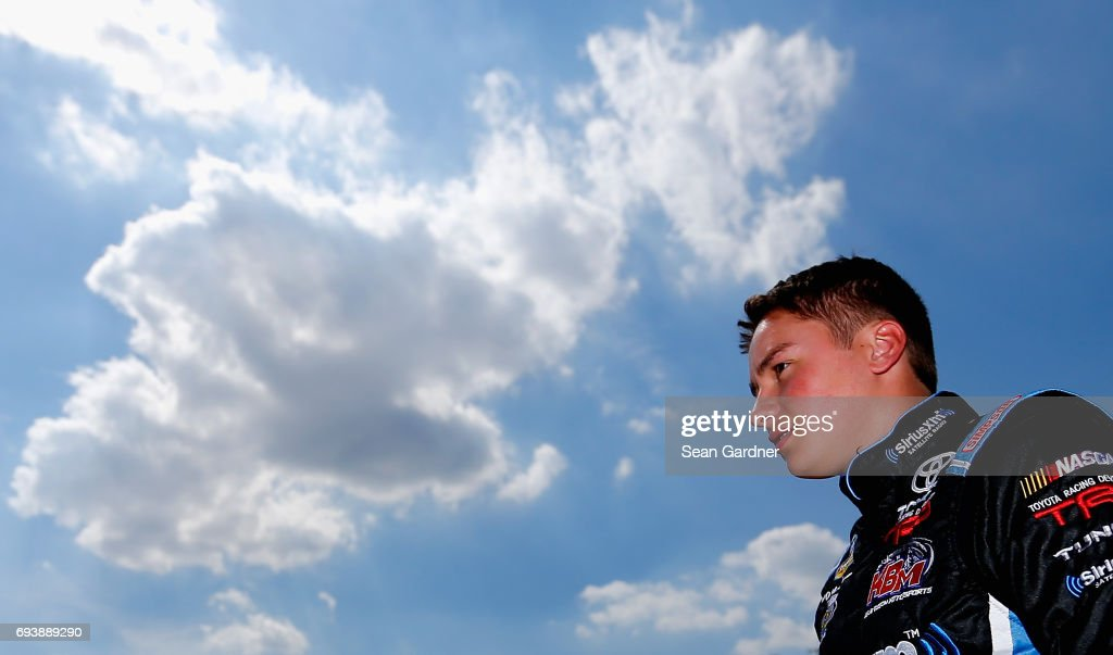 Christopher Bell, driver of the #4 JBL Toyota, looks on from the garage during practice for the NASCAR Camping World Truck Series winstaronlinegaming.com 400 at Texas Motor Speedway on June 8, 2017 in Fort Worth, Texas.