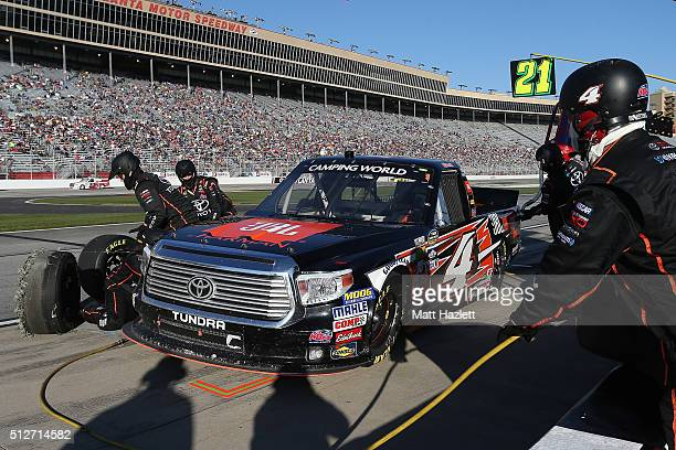 Christopher Bell driver of the JBL Toyota pits during the NASCAR Camping World Truck Series Great Clips 200 at Atlanta Motor Speedway on February 27...