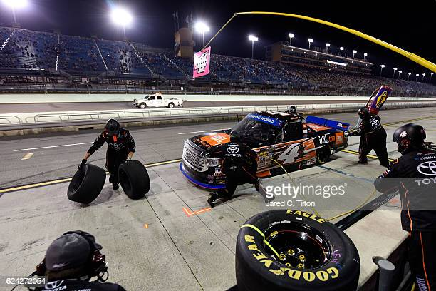 Christopher Bell driver of the JBL Toyota pits during the NASCAR Camping World Truck Series Ford EcoBoost 200 at HomesteadMiami Speedway on November...